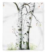 White Birch Fleece Blanket