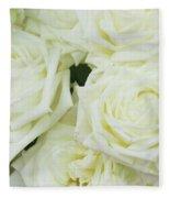 White Blooming Roses Fleece Blanket