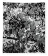 White Blossoms In Black And White Fleece Blanket