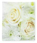 White Bouquet Fleece Blanket