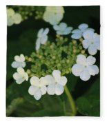 White Bridal Wreath Flowers Fleece Blanket