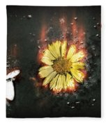 White Butterfly And Yellow Flower Fleece Blanket
