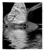 White Butterfly Bw Fleece Blanket
