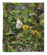 White Butterfly On Golden Daisy Fleece Blanket