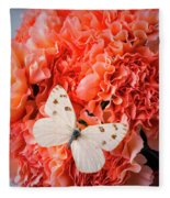 White Butterfly On Pink Carnations Fleece Blanket