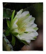 White Cactus Flower  Fleece Blanket