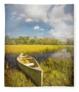 White Canoe Textured Painting Fleece Blanket