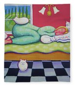 White Cats - Cat Napping Fleece Blanket