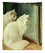 White Cats Watching Goldfish Fleece Blanket