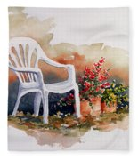 White Chair With Flower Pots Fleece Blanket