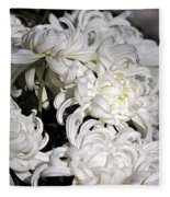 White Chrysanthemum Fleece Blanket