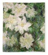 White Clematis Fleece Blanket