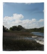White Cloudes Over Water Fleece Blanket