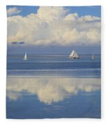 Romantic View With Sailboats In Holland Fleece Blanket