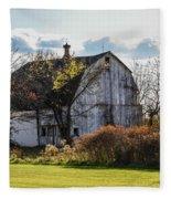 White Country Barn Fleece Blanket