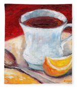 White Cup With Lemon Wedge And Spoon Grace Venditti Montreal Art Fleece Blanket