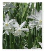 White Daffodils  Fleece Blanket