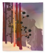 White Deer Climbing Mountains - Abstract And Colorful Forest Fleece Blanket