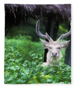 White Deer Fleece Blanket