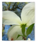 White Dogwood Flower Art Prints Blue Sky Baslee Troutman Fleece Blanket