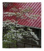 White Dogwood In The Rain Fleece Blanket