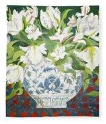 White Double Tulips And Alstroemerias Fleece Blanket