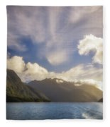 White Dragon Cloud In The Sky At Lake Manapouri Fleece Blanket