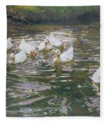 White Ducks On Water Fleece Blanket