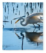 White Egret At Horicon Marsh Wisconsin Fleece Blanket