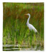 White Egret In Waiting Fleece Blanket