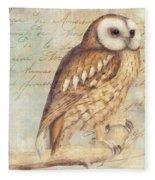 White Faced Owl Fleece Blanket