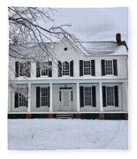 White Farm House During Winter Fleece Blanket