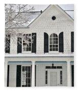 White Farm House In Winter Fleece Blanket
