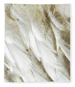 White Feathers With Gold Fleece Blanket