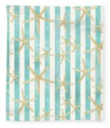 White Finger Starfish Watercolor Stripe Pattern Fleece Blanket