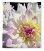 White Floral Art Bright Dahlia Flowers Baslee Troutman Fleece Blanket