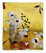 White Floral Collage II Fleece Blanket