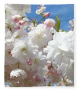 White Floral Tree Flower Blossoms Art Baslee Troutman Fleece Blanket