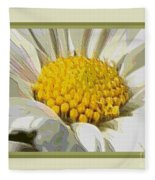 White Flower Abstract With Border Fleece Blanket