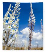 White Flowering Sea Squill On A Blue Sky Fleece Blanket