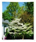 White Flowering Tree Fleece Blanket