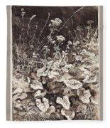 White Flowers 1877 12 3h9 Ivan Ivanovich Shishkin Fleece Blanket