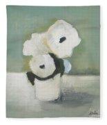 White Flowers In Vase Fleece Blanket