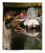 White Giant Water Lily Fleece Blanket