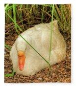 White Goose By Pond Fleece Blanket