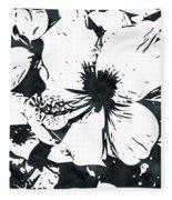 White Hibiscus- Art By Linda Woods Fleece Blanket