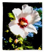 White Hibiscus High Above In Shadows Fleece Blanket