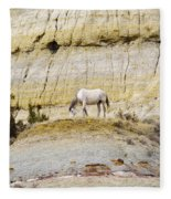 White Horse On A Mound Fleece Blanket