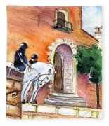 White Horses By The Cathedral In Palma De Mallorca 02 Fleece Blanket