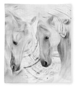White Horses No 01 Fleece Blanket